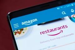 Amazon restaurants app menu royalty free stock image