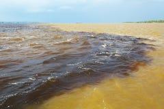 Amazon & Rio Negro waters not mixing, Brazil Royalty Free Stock Photos