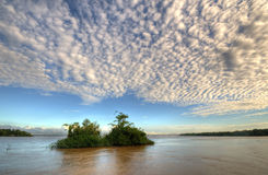 Amazon river. With vegetation and clouds - Amazonia - Brazil stock photo
