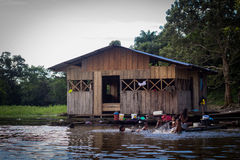 Amazon river jungle house boat Stock Photos