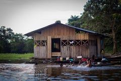Amazon river jungle house boat Stock Photos