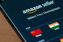 Amazon seller marketplace. New york, USA - march 15, 2019: Amazon seller marketplace on smartphone screen close up view stock photography