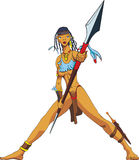 Amazon with a spear. Vector illustration of a woman with spear Royalty Free Stock Image