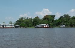 Amazon stilt houses. The image shows the Amazon river and some stilt houses of the local people in the border of the Amazon forest. The image was taken in the Royalty Free Stock Photos