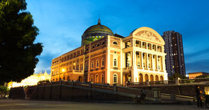 Amazon Theater at night in Manaus, Brazil Royalty Free Stock Photo