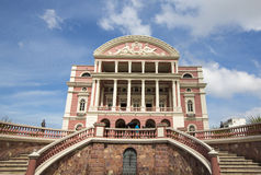 Amazon Theatre with blue sky, opera house in Manaus, Brazil Stock Photography