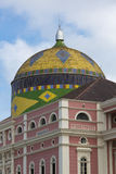 Amazon Theatre with blue sky, opera house in Manaus, Brazil Royalty Free Stock Images