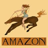 Amazon with title. Amazon - female warriors in Greek mythology Royalty Free Stock Images