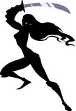 Amazon warrior. Silhouette illustration of an amazon warrior with a sword in her hands going to attack someone or defend herself Royalty Free Stock Image
