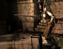 Amazon warrior alone in the Dungeon. 3D rendering of an Amazon warrior alone in the Dungeon Royalty Free Stock Images