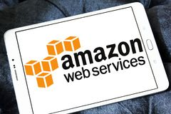 Amazon Web Services ,AWS, logo. Logo of Amazon Web Services ,AWS, on samsung tablet . Amazon Web Services provides on-demand cloud computing platforms to Royalty Free Stock Image