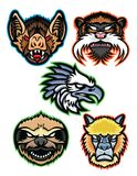 Amazon Wildlife Animals Mascot Collection Series. Mascot icon illustration set of heads of Amazon wildlife like the vampire bat, emperor tamarin monkey, harpy Royalty Free Stock Photo