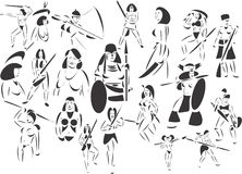 Amazon Women. 20 themed EPS images related to the legend of Amazon women. The number of vector nodes is absolute minimum. The images are very easy to use and Royalty Free Stock Photo