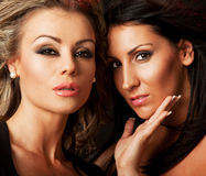 Amazon women faces. Close-up of two beautiful woman, blond and brunette Royalty Free Stock Images