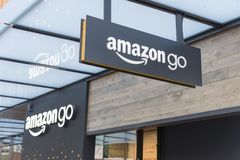 Amazon World Headquarters grounds with outlet store stock photo