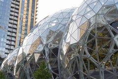 Amazon World Headquarters Spheres and condo tower. Seattle, Washington circa May 2018 the Amazon company world headquarters Spheres terrariums with condo tower stock image