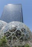 Amazon World Headquarters Spheres vertical portrait. Seattle, Washington circa May 2018 the Amazon company world headquarters vertical portrait main tower with stock images