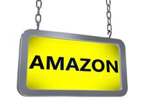 Amazon on billboard. Amazon on yellow light box billboard on white background Royalty Free Stock Photo