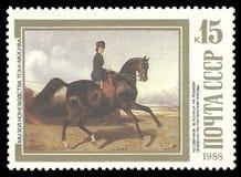 Amazona en el caballo de Orlov-Rastopchin Fotografía de archivo