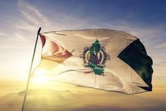 Amazonas Region of Peru flag textile cloth fabric waving on the top sunrise mist fog vector illustration