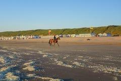 Amazonas zu Pferd auf dem Strand während des Sonnenuntergangs Lizenzfreie Stockbilder
