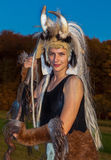 Amazone. Woman in a middle age disguise Stock Image