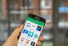 Amazonek apps na Samsung S7 Zdjęcia Royalty Free