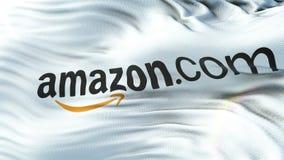 amazonië Com-vlag die op zon golven Naadloze lijn met hoogst gedetailleerde stoffentextuur stock videobeelden