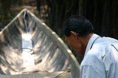 Amazonië Lokaal in Boot Stock Fotografie