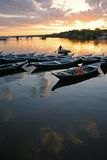 Amazonia brazil. Canoes in line during the dawn in Rio Tapajos - Brazil Stock Photography