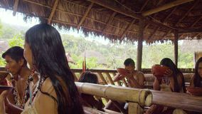 Amazonian indigenous family drinking fermented yucca beverage chica drink. In Ecuador stock footage