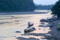 Amazonian Napo flod, Ecuador Arkivfoton