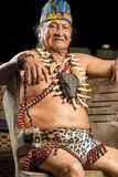 Amazonian Shaman Portrait. Shaman In Ecuadorian Amazonia During A Real Ayahuasca Ceremony Model Released Image As Seen In April 2015 Stock Photo