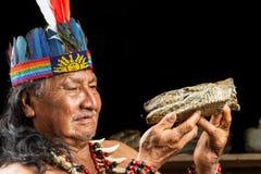 Amazonian Shaman Portrait Stock Photos