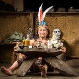Amazonian szamanu portret zdjęcia royalty free