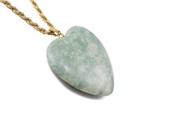 Amazonite heart with golden chain. Isolated on white background Stock Photo