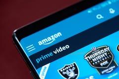 Amazonki app wideo pierwszorzędny menu fotografia stock