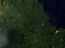 Amazonki delta na realistycznym modelu ziemia Zdjęcie Royalty Free
