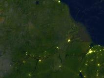 Amazonki delta przy nocą na planety ziemi Zdjęcia Royalty Free
