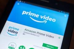 Amazonki Pierwszorzędna Wideo wisząca ozdoba app na pokazie pastylka pecet Ryazan Rosja, Marzec - 21, 2018 - Obraz Royalty Free