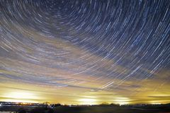 Amazzing Star trails. Star trails in Burton Dassett, Coventry, UK Royalty Free Stock Photos