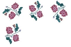 Ambacht: de geborduurde satijnsteek bloeit mooi stock afbeeldingen
