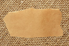 Ambachtdocument blad op canvas stock afbeeldingen