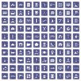 100 ambachtpictogrammen geplaatst grunge saffier Stock Foto's