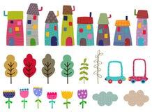 Ambachtreeks Huizen, bomen, bloemen Stock Afbeelding