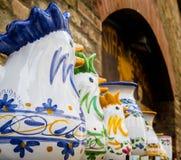 Ambachts ceramische jonge hanen Royalty-vrije Stock Afbeelding