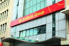 AmBank gruppfasad i Kota Kinabalu, Malaysia Arkivfoto