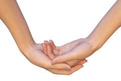 Ambas palmas vacías femeninas están llevando a cabo algo Imágenes de archivo libres de regalías