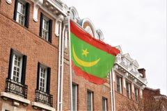 Ambassade de drapeau de la Mauritanie photo libre de droits