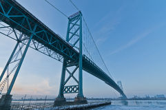 Ambassador Bridge, windsor ontario Canada. Winter cold under the Ambassador bridge of Windsor ontario Royalty Free Stock Images